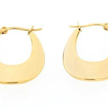 Ben and Jonah Stainless Steel Gold Plated Lucky Horseshoe Shaped Earring (32x24mm)