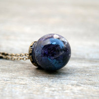 Planet necklace, purple planet,glass vial,galaxy jewelry