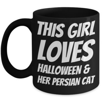 Funny Halloween Coffee Mug For Women Persian Cat Holiday Gift Cocoa Mugs Tea Cup Holliday Gifts For Her Cookie & Candy Jar & Pencil Holder