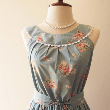 Tea Party - Blue Floral Dress Tea Party Dress Vintage Inspired Dress Floral Bridesmaid Dress