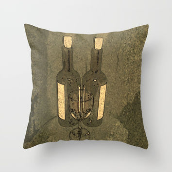 Wine Bottle Throw Pillow by Robleedesigns