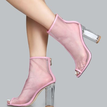 Pink Clear Heels Pep Toe Boots