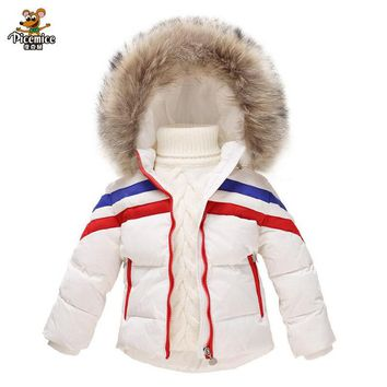 Baby Hooded Coat Kids Winter Down Jacket Boy Warm Outerwear Coats Girl Down & Parkas 2-7 Years Ski Coat Baby Waterproof Clothing