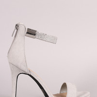 Qupid Rhinestone Embellished Open Toe Stiletto Heel