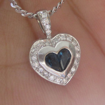 Diamond & Natural Blue Sapphire Heart Pendant 14k White Gold Pendant Necklace Halo Necklace