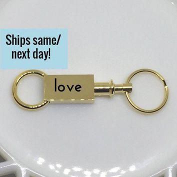 Love Gold Keychain, Gold Engraved Keychain, Gold Engraved Bar, Engraved Bar, Gold Keychain, His and Hers, Girlfriend Gift, Boyfriend Gift