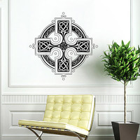 Celtic Cross Wall Decal Celtic Cross Decals Wall Vinyl Sticker Interior Home Decor Vinyl Art Wall Decor Bedroom SV5847
