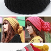 Women Girl Winter Warm Knit Oversized Cuffed Crochet Ski Beanie Slouch Cap Hat = 1958083140
