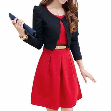 Women Dress Suits Business Uniforms Sleeveless With Long-Sleeve Jackets Two Pieces