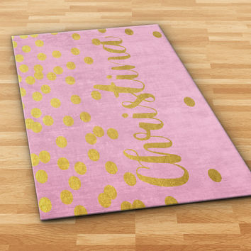 Personalized Polka Dots Area Rug