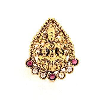 Tear drop shaped Goddess Lakshmi center Traditional adjustable Finger ring - Design 2