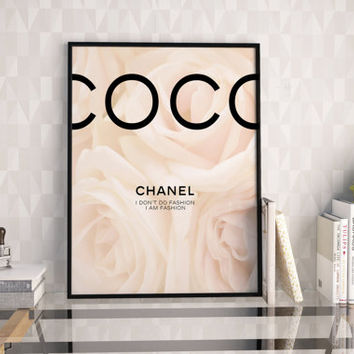 COCO CHANEL DECOR,Chanel Wall Art,Modern Decor,Girls Room Decor,Chanel Peonies,Chanel Print,Fashion Illustration,Typography Print,Quote Art