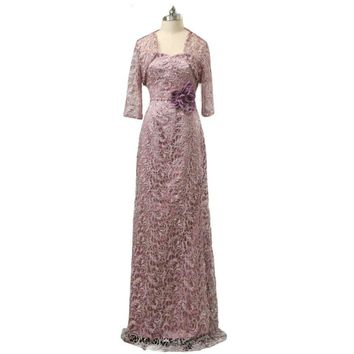 Elegant Purple Mother Evening Dress With Jacket Lace Mother of the bride Dress