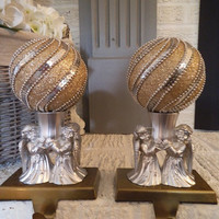 2 Upcycled Angel and Sparkle Sphere STOCKING holder Gold ~ Silver Elegant Shabby Chic Christmas decoration