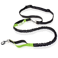 Paw Lifestyles Premium Hands Free Dog Leash, Double Handle, No Pull Leash with Retractable Shock Absorbing Bungee, Reflective Stitching and Adjustable Waist Belt, 4 ft | For Running, Jogging & Hiking