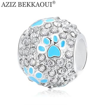 AZIZ BEKKAOUI Cute Dog Paw Beads fit Pandora Charms Bracelet Full Crystal Luxury Style Beads for Women Girl New Arrival Jewelry