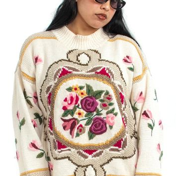 Vintage 90's Queen's Lace Grandma Sweater - One Size Fits Many