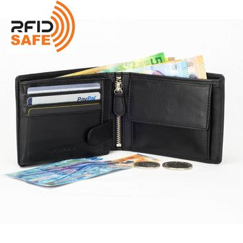 DiLoro Men's Leather Bifold Flip ID Zip Coin Wallet RFID Protection