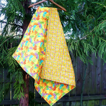 Colorful Bright Homemade Baby Boy or Girl Quilt Blanket Play Mat - Yellow Blue Orange Purple - Plaid Flannel Back - Handmade Throw