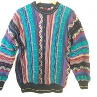 Teal & Purple Textured Cosby Style Tacky Ugly Sweater Men's Size Large (L) $12 - The Ugly Sweater Shop