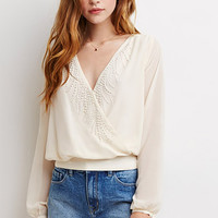 Beaded Surplice Front Blouse