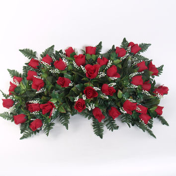 Deluxe Rosebud Headstone Spray with Red Silk Flowers - 29 inch