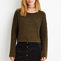 Contemporary Brushed Knit Cropped Sweater