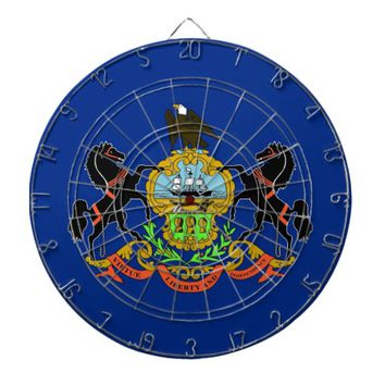 Dartboard with Flag of Pennsylvania, USA
