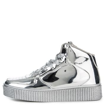Cape Robbin Polo-5 Women's Silver Sneakers
