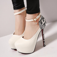 Stylish Snakeskin Ankle Strap Pump High Heels