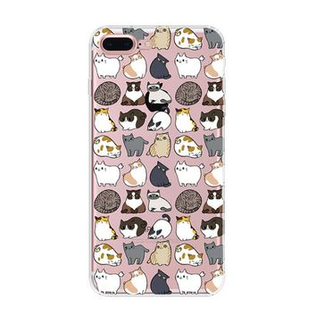 Lazy Cat Cover Case for iPhone 7 7Plus & iPhone 6s 6 Plus & iPhone X 8 Plus with Gift Box