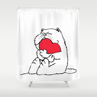 Persian Cat Heart Shower Curtain by Huebucket