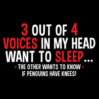 3 Out of the 4 Voices in My Head Want Sleep The Other One Wants to Know if Penguins Have Knees Silly Handmade to Order Tee