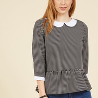 Evening at the Easel Ruffled Top in Black Stripe