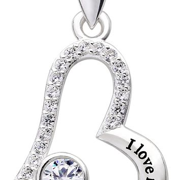 "Jewelry Sterling Silver ""I love my aunt forever"" Love Heart Cubic Zirconia Pendant Necklace"