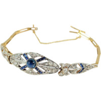 Exquisite Art Deco bracelet, 18K solid gold, Roses and calibrated sapphires, French stamped 1920s