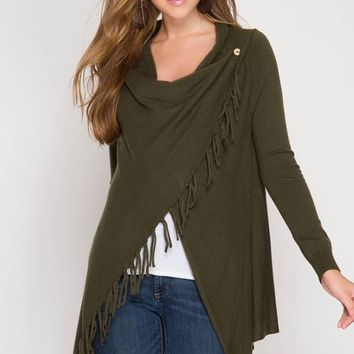 Cardigan Wrap with Fringe - Olive