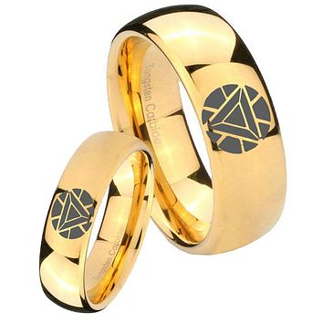 Bride and Groom Iron Man Art Reactor Dome Gold Tungsten Mens Bands Ring Set