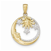 14k And Rhodium D/c Moon, Stars, And Sun Pendant, Best Quality Free Gift Box Satisfaction Guaranteed