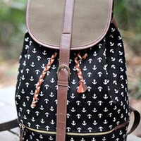 Navy Style Classical Anchor Print Backpack from styleonline
