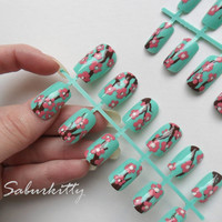 Cherry Blossom Nail Art (mint, teal, green, pink, brown, plum, ikebana, artificial, flower, short style, fake, nails, made with blanks)