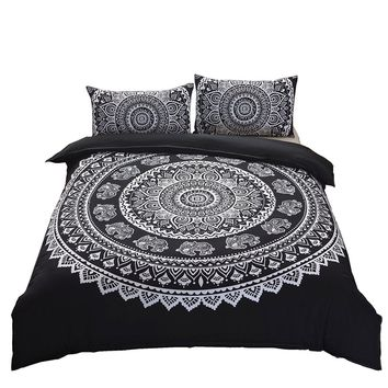 Magical Mandala Black White Tapestry Duvet Cover SET