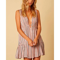 cotton candy la - on the stripe mini dress - taupe