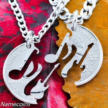 Music Jewelry Electric Guitar and Music Note Relationship Necklaces by Namecoins