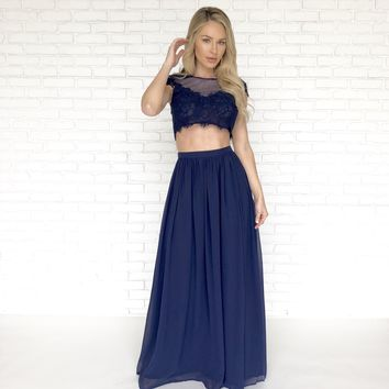 Dance With Me Lace Top & Maxi Skirt Set In Navy Blue