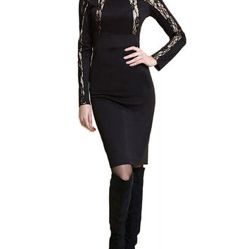 Black Long Sleeve Bodycon Mini Dress with Lace Accent