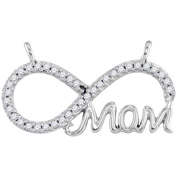 10kt White Gold Womens Round Diamond Mom Infinity Pendant Necklace 1/5 Cttw