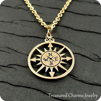 Compass Rose Necklace, Gold Plated Compass Rose Necklace on a Gold Cable Chain
