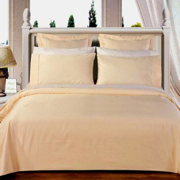 "Ivory 550TC Olympic Queen Solid Bed in A Bag 90x92"" Combed cotton With Down Alternative Comforter"