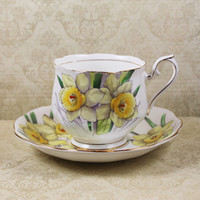 Vintage Royal Albert Flower of the Month Daffodil Bone China Tea Cup and Saucer Set